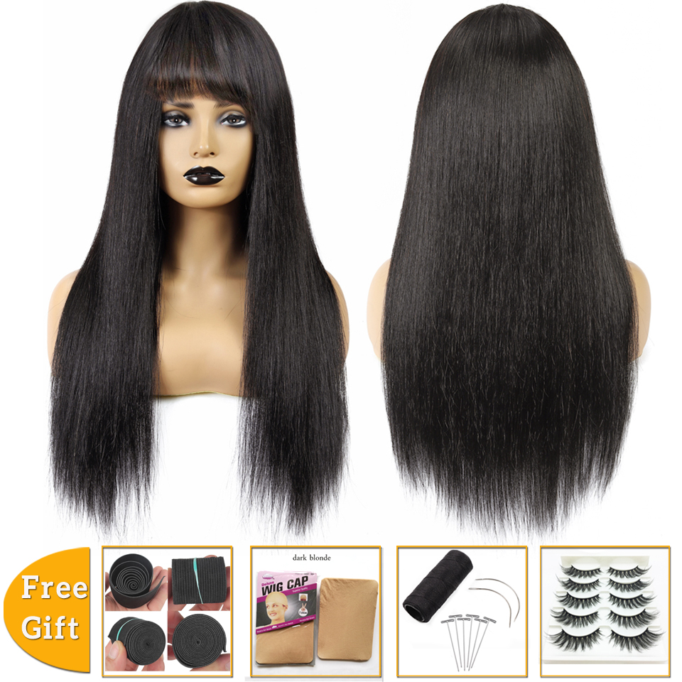 Brazilian Hair Wigs Short Straight Cheap Human Hair Wigs For Black Women Pixie Cut Wig With Bangs Bob Wigs Machine Made Non-Remy
