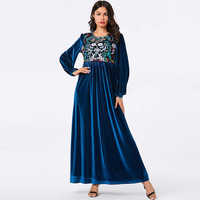Blue Velvet Kaftan Abaya Turkish Hijab Muslim Dress Islamic Clothing Abayas For Women Islam Caftan Dubai Elbise Djelaba Femme