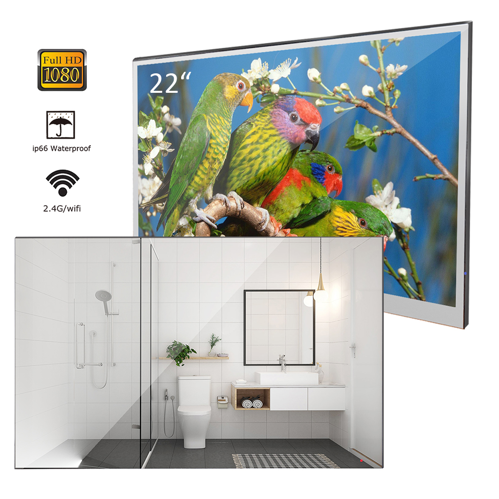 "Souria 22 inch Magic Android 7 1 Mirror LED TV IP66 Waterproof Rated Bathroom Salon In Souria 22"" inch Magic Android 7.1 Mirror LED TV IP66 Waterproof Rated Bathroom Salon In Wall Mounted Flat Screen (ATSC or DVB)"