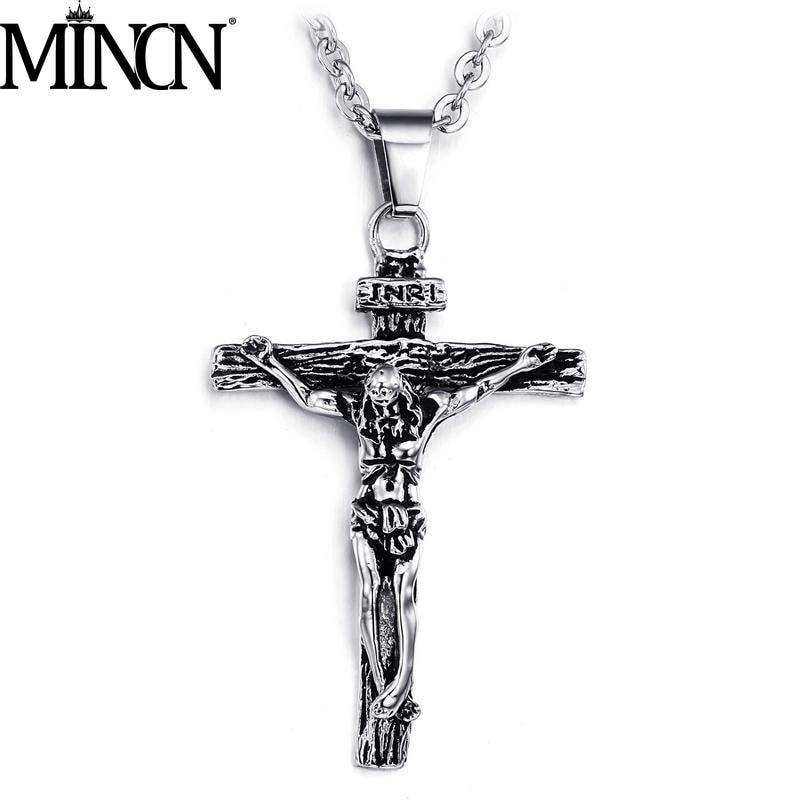 MINCN Mens Necklace Jesus Cross Stainless Steel Punk Wind Hip Hop Jewelry