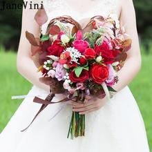 JaneVini en forma de corazón ramo de novia rojo flores de seda Rosa novia sujetando flores Vintage ramos de novia decoración de la boda