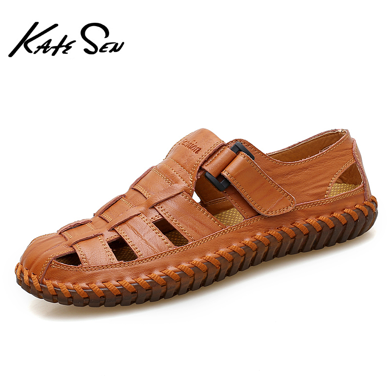 KATESEN Summer Genuine Leather Roman Men Sandals Business Casual Shoes Outdoor Beach Wading Slippers Men's Shoes Big Size 39-48