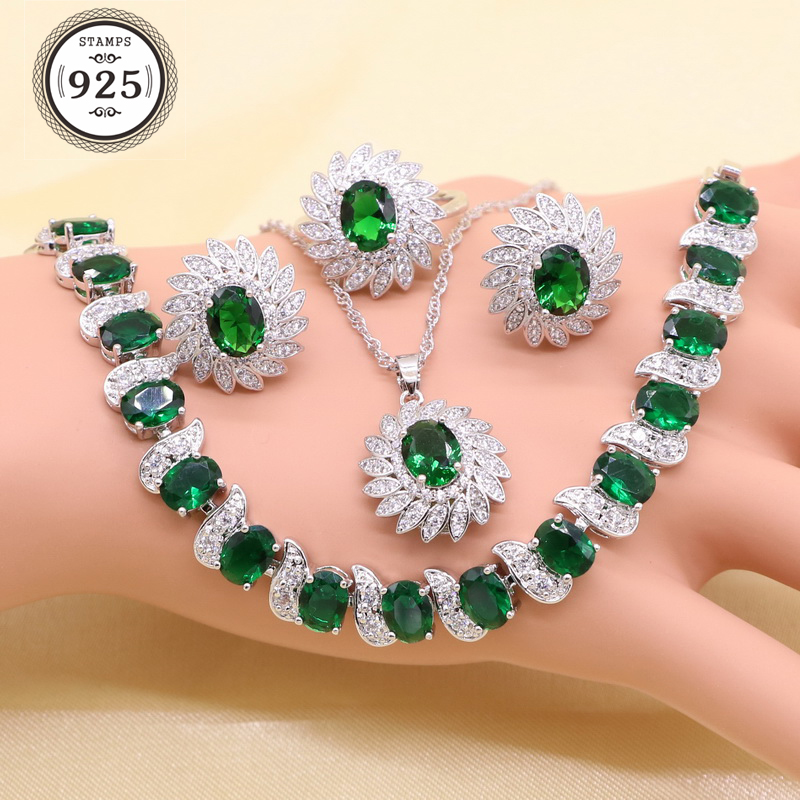 Green Imitated Emerald Crystal White Zirconia Silver color Bridal Jewelry Sets For Women Necklace Pendant Earrings Ring Bracelet(China)