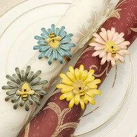 12PCS Western Restaurant Hotel Tableware Bee Napkin Button Zinc Alloy Napkin Ring For Wedding Table Decoration
