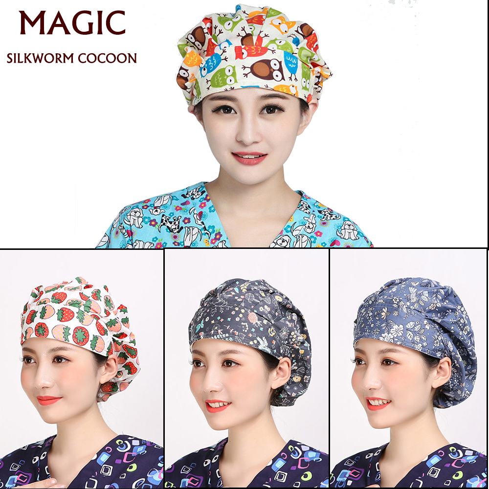 Medical Cap Floral&Fruit Printed Cute Scrub Caps High Quality Adjustable Hat Clinic Hospital Dental Surgical Laboratory Pharmacy