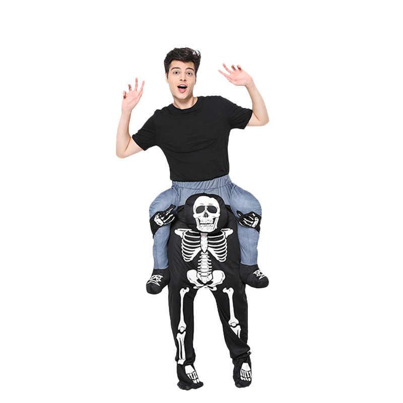 Męska czaszka niosąca ludzi Cosplay spodnie na kostium na halloween Party śmieszne świąteczne ubrania Cosplay dla mężczyzn