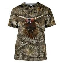 Camisetas informales cómodas parágrafo hombres y mujeres y caza animales conejo ciervo lobo pato moda 3D streetwear manga corta