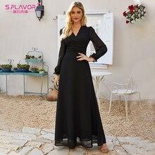 S.FLAVOR 2020 Autumn Black Chiffon Long Dress Bohemian V neck Maxi Boho Dress For Femme Women V neck Sexy Party Vestidos