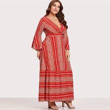 купить Fashion Plus Size Women Dress Long Sleeve Autumn Large Maxi Dress Women Geometric V Neck Casual Retro Female Dress Vestidos дешево