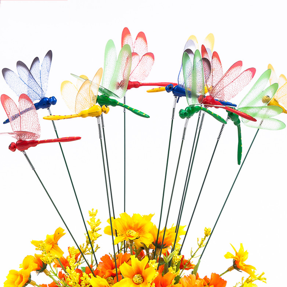 10Pcs/lot Artificial Dragonfly Butterflies Garden Decoration Outdoor 3D Simulation Dragonfly Stakes Yard Plant Lawn Decor Stick