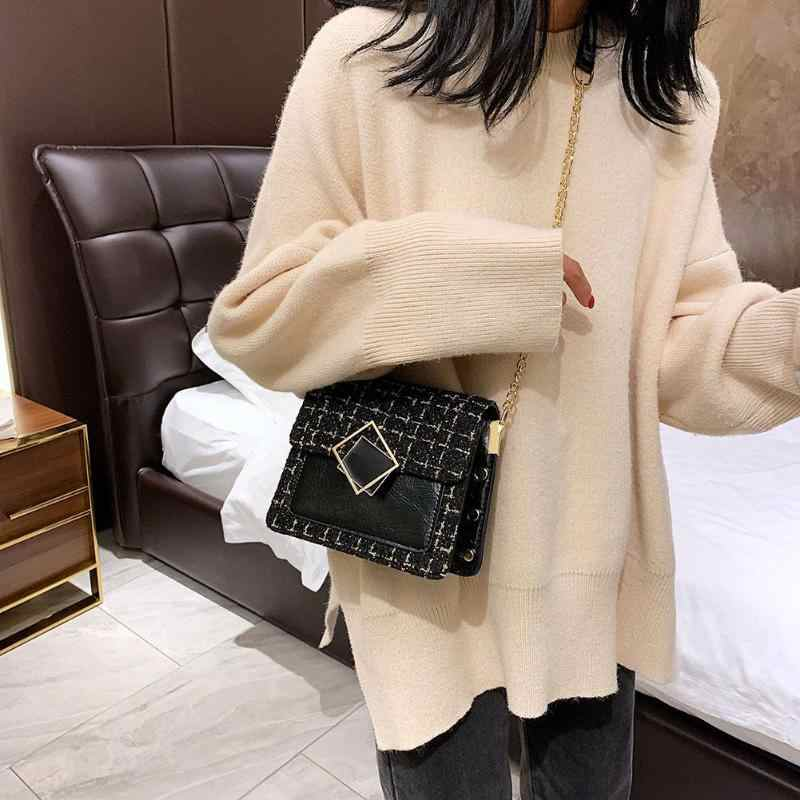 New Fashion Handbags Women Shoulder Handbag Leather Woolen Messenger Bag Chain Winter Autumn Satchel Leisure Daily Shopping