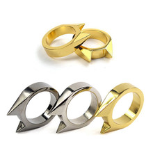 1-Finger-Buckle Ring Cat-Ear Self-Defense Anti-Thief Outdoor-Products Ring-Broken-Window