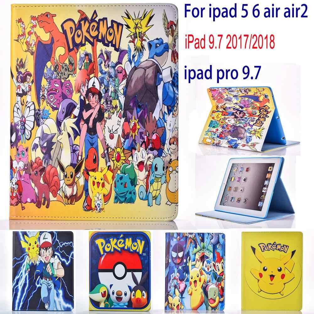Caso para Apple ipad 5 6 air 2 ipad 9,7 2017 2018 Pokemon lindo Pikachu tablet PU cuero cubierta funda con soporte giratorio para