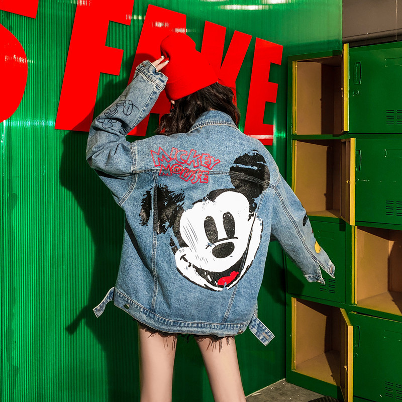 High Quality  Autumn Models Wild Trend Personality Loose Denim Ladies Jacket Was Thin Cartoon Street Brand Denim Tide Clothes