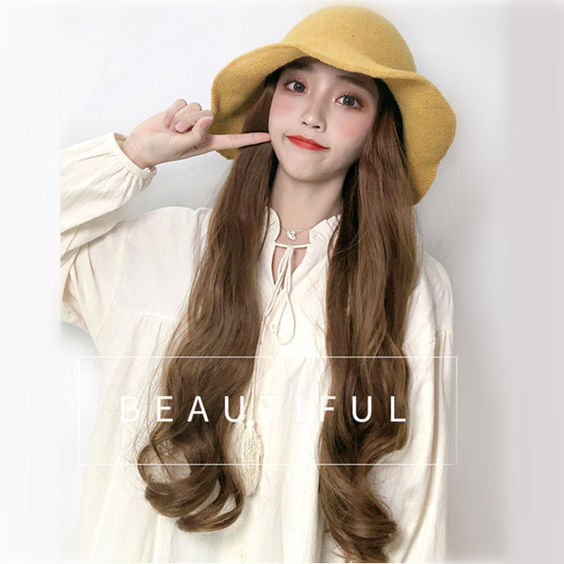 VICWIG Hat Wig Yellow Hat Brown Black Curly Big Wavy 24 Inch Long Synthetic Hair Spring Summer Daily Party Wigs For Women