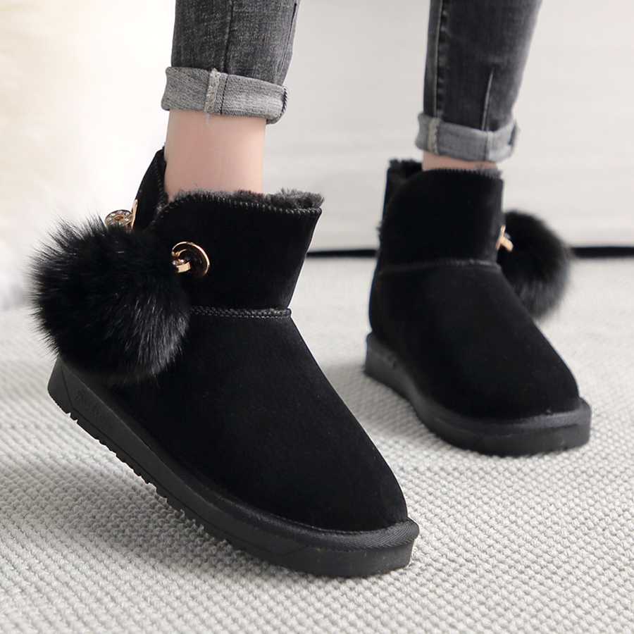 US $21.0 50% OFF|2019 Winter New Women Snow Boots Plus Plush Keep Warm Ankle Fur Emu Boots Pin Plush Ball Comfortable Non slip Winter Boots on