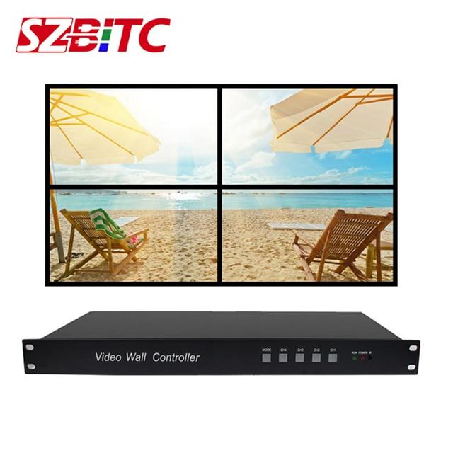 SZBITC Video Wall Processor 2x2 1x2 2x1 1x3 1x4 TV Splicing Box HDMI Video Controller 180 degrees Rotate with Remote Controller