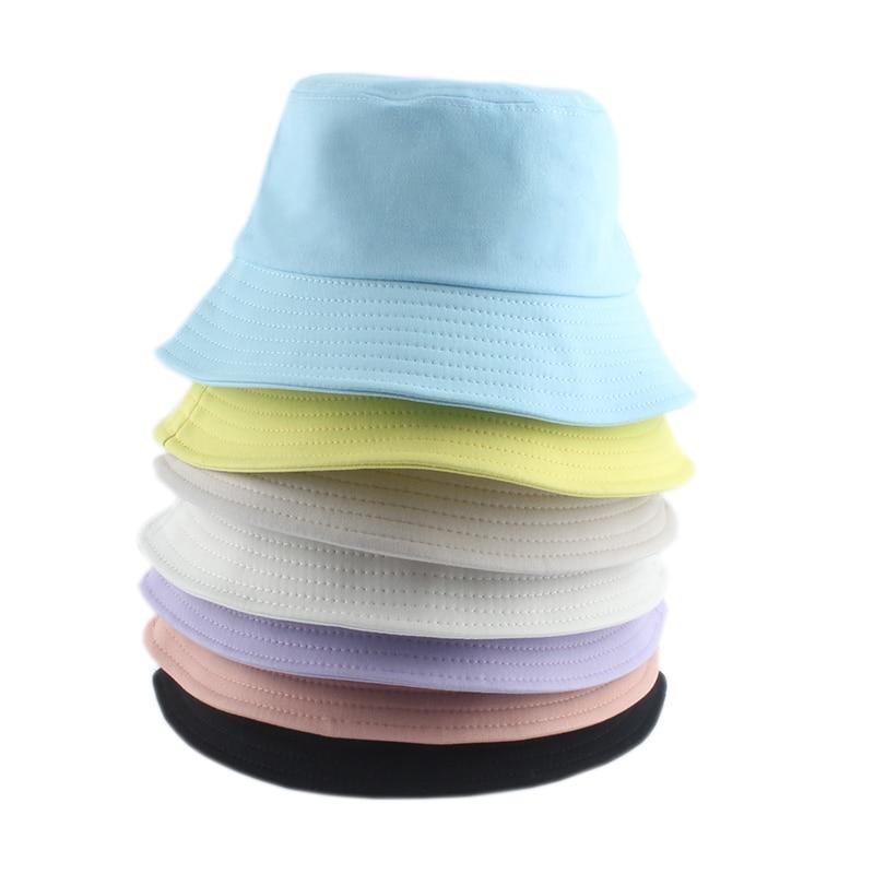 Top Korean Adult Kids Summer Foldable Bucket Hat Panama Solid Color Hip Hop Cap Wide Brim Beach UV Protection Fisherman Hat