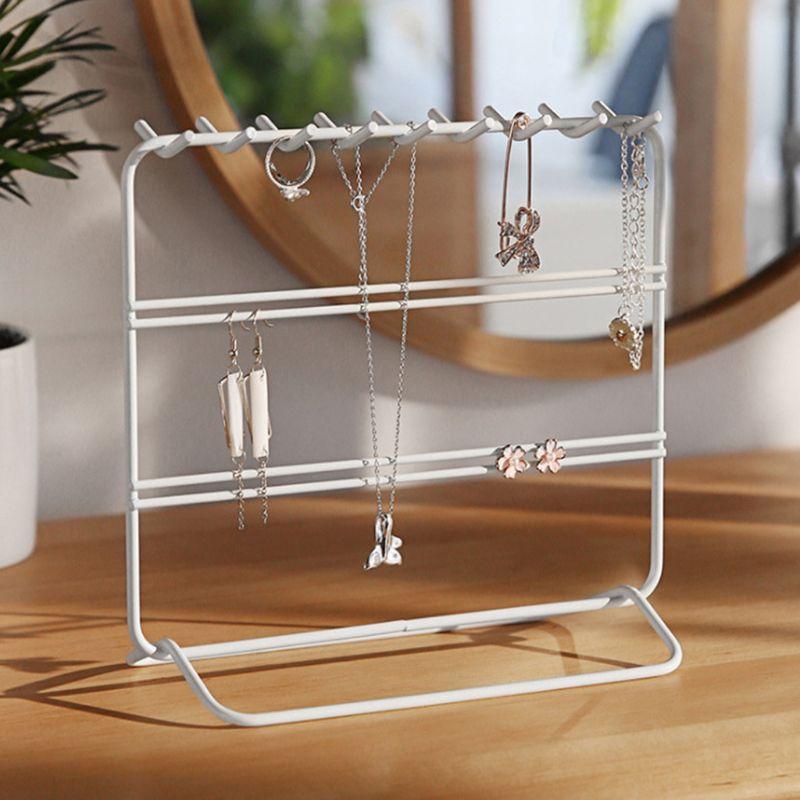 Earrings Jewelry Organizer Stand Necklace Storage Holder Display Rack Metal Display Shelf