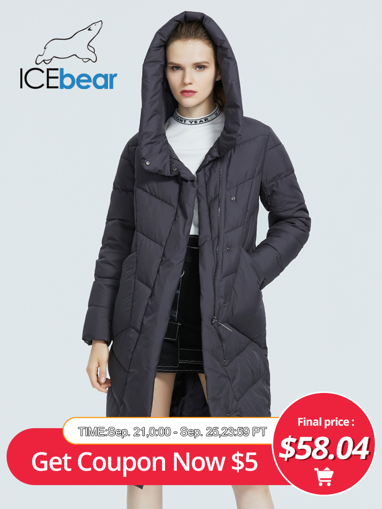 Icebear Hooded Women Jacket Winter Cotton Fashion-Brand Casual Thicken