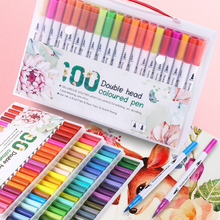 12/18/24/36/48/72/100PCS Colors FineLiner Drawing Painting Watercolor Art Marker Pens Dual Tip Brush Pen School Supplies