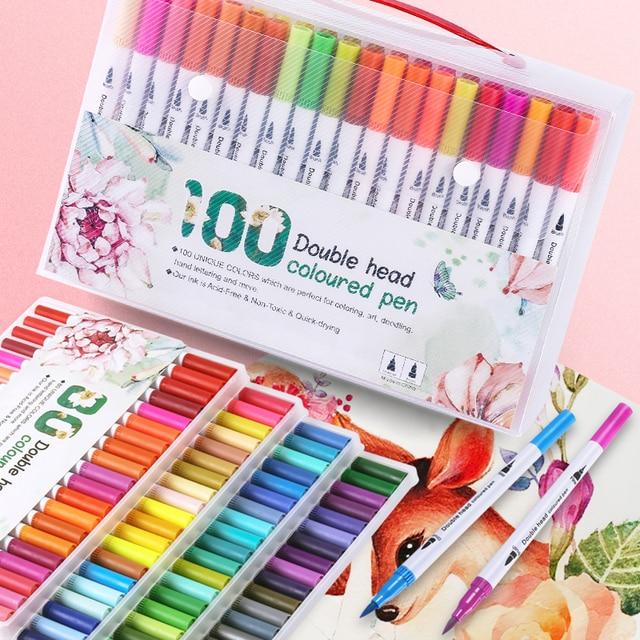 12/18/24/36/48/72/100PCS Colors FineLiner Drawing Painting Watercolor Art Marker Pens Dual Tip Brush Pen School Supplies 1