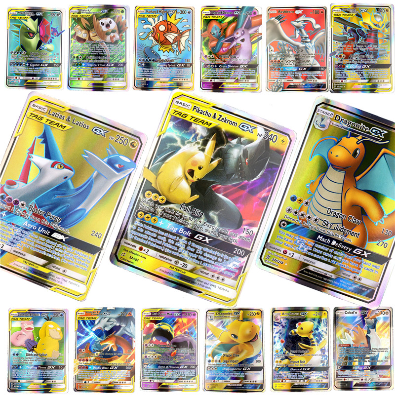 2019 Best Selling Shining   Pokemones  Cards Game Battle Carte 25 50 100pcs Trading Cards Game Children Toy