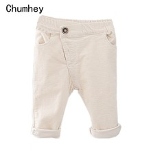 Chumhey 1-4T baby Corduroy trousers boys girls pants spring autumn bebe clothing babe clothes casual plaid loose trousers(China)