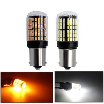 2 unids/lote de señal de vuelta de luz 1156 BA15S P21W LED T20 7440 W21W W21/5W 1157 BAY15D bombillas led 144smd CanBus BAU15S PY21W lámpara