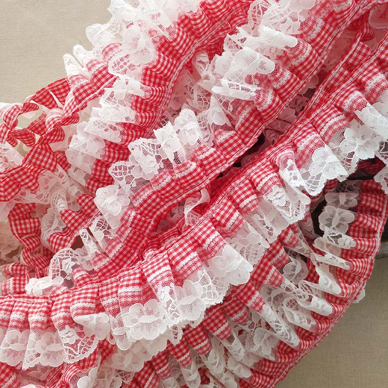 5 meter 28cm 11.02 wide redwine ruffled mesh fabric dress embroidery tapes lace trim ribbon H47S804Y200330P