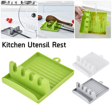 Kitchen Utensil Rest Plastic Spoon Rest 4-Slot Holder For Spatulas Spoons Ladles Tongs On Countertop For Dropshipping