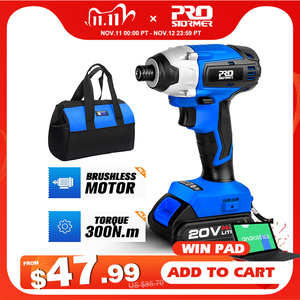 Image 1 - 300Nm Electric Cordless Drill Screwdriver Brushless Motor Impact Driver Combo Kit 34pcs Drill Bits 20V Power Tool by PROSTORMER
