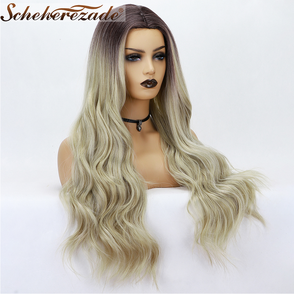 Scheherezade Long Wavy Synthetic Wigs Middle Part Ombre Blonde Wig Mixed Black Cosplay Wigs High Temperature Fiber Perruque