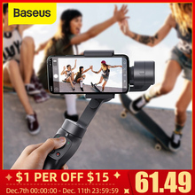 Baseus 3 แกนไร้สายBluetoothมือถือโทรศัพท์Gimbal StabilizerสำหรับiPhone Huaweiขาตั้งกล้องGimbal Stabilizer Gimalสมาร์ทโฟน