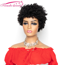 Tinashe Beauty Short Kinky Curly human Hair Wig Brazilian Remy Hair Curly Wave Wig For Black Wome Machine Made Wig Natural Color