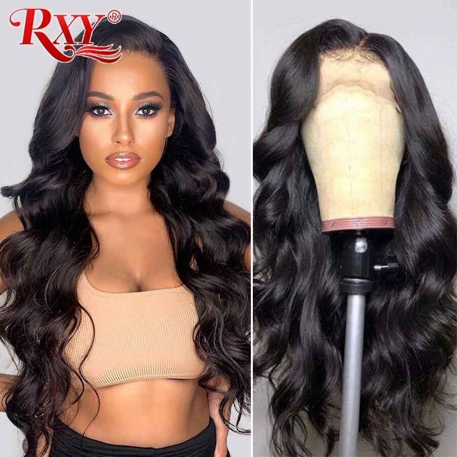 Rxy onda do corpo peruca 13x4 frente do laço perucas de cabelo humano para as mulheres cabelo humano perucas de cabelo brasileiro pré arrancadas remy fechamento do laço perucas