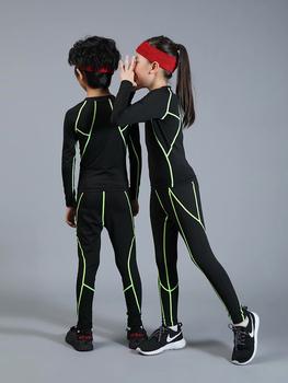Strój sportowy dla dzieci chłopiec szybkoschnący trening kompresyjny trening fitness MMA garnitur chłopiec dziewczyna odzież sportowa odzież do joggingu tanie i dobre opinie BAOGEYANG CN (pochodzenie) Dziewczyny Pasuje prawda na wymiar weź swój normalny rozmiar Stałe Szybkie suche 300+301+505