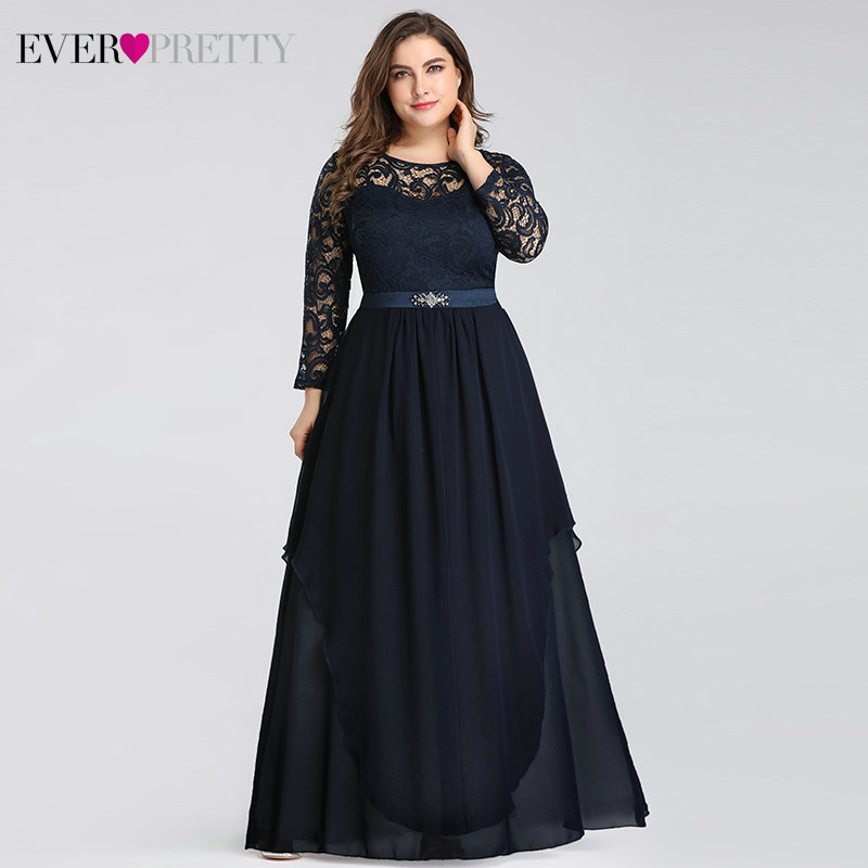 Plus Size Navy Blue Evening Dresses Ever Pretty A-Line O-Neck Beaded 3/4 Sleeve Floral Lace Formal Party Gowns Abendkleider 2020