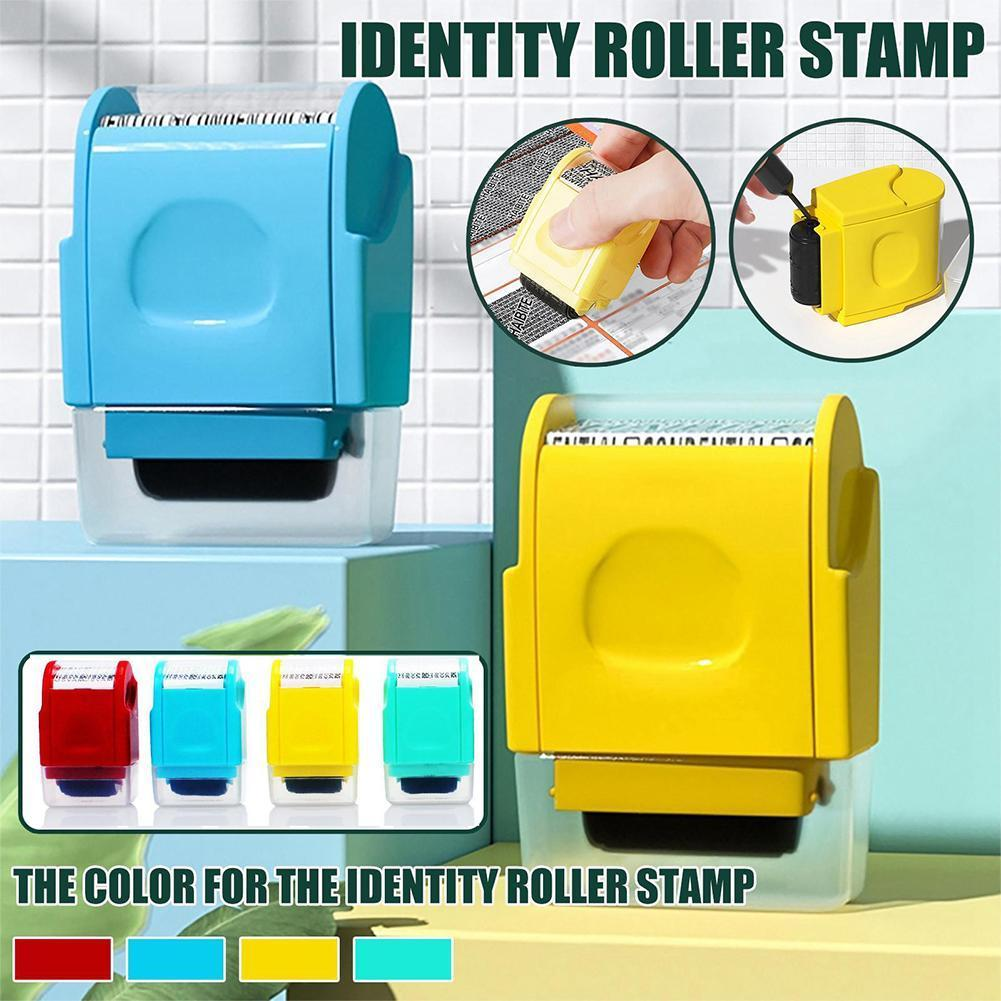 Roller Self Inking Stock Stamp Seal Theft Code Guard Your ID Confidentiality Confidential Seal Office File Stamp Tool Refill Ink