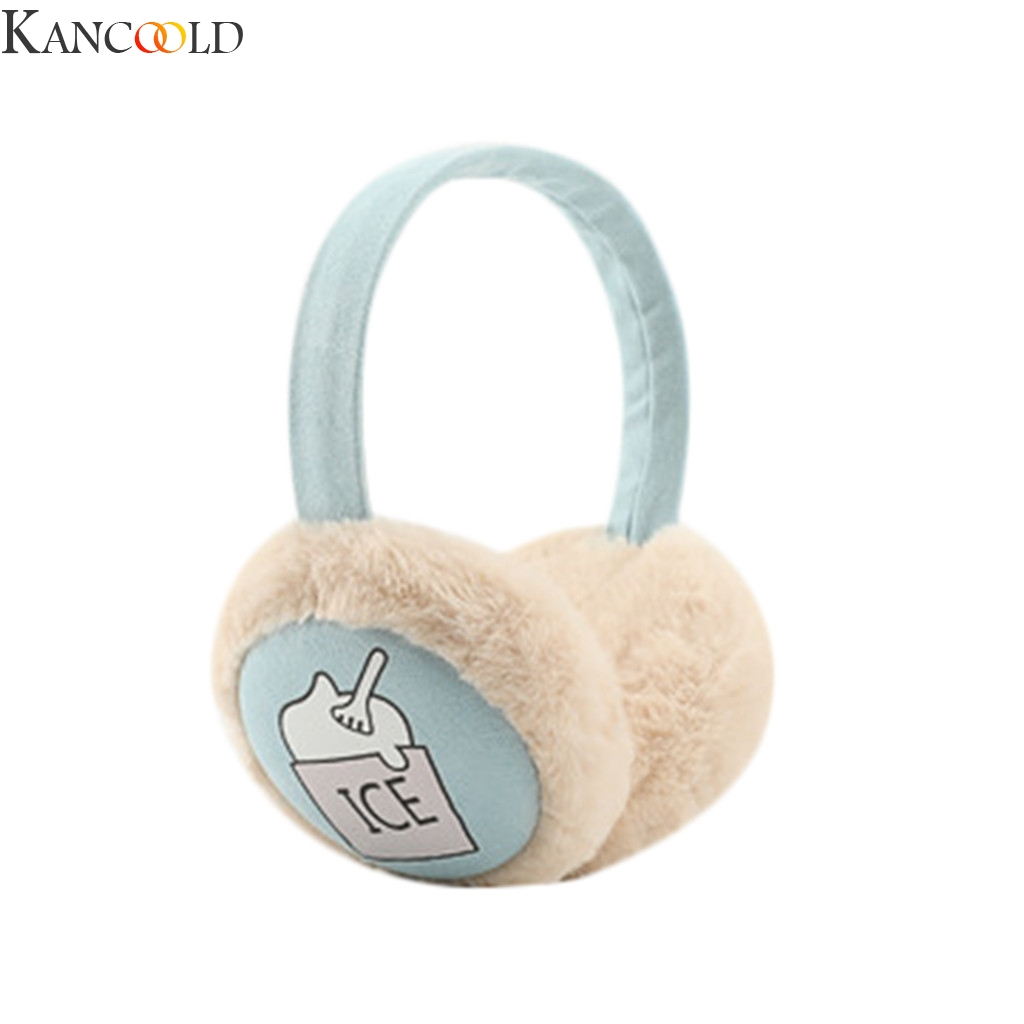 KANCOOLD Women Ladies Fashion Winter Warm Plush Ear Muffs Cute Cartoon Printed Earflap Outdoor Protect Ears Winter Accessories