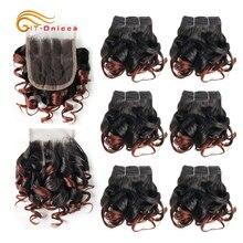 Brazilian Curly Human Hair Bundles Bouncy Curly 230g/pack 100% Human Hair Weaving Short Bundles With Closure Ombre Hair Bundles