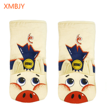 1 Pair Pig Oven Gloves Non-Slip Kitchen Oven Mitts Heat Resistant Oven Gloves for Cooking Baking BBQ Grilling leshp 1pc microwave oven gloves high temperature resistance non slip oven mitts heat insulation kitchen cooking grilling gloves