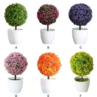 Lovely Artificial Flowers Decorative Pine Cherry Blossom Ball Potted Artificial Home Festival Fake Flowers Wedding Decoration
