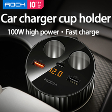 ROCK Car Charger Cup Holder 100W Fast Charge Power Adapter 1