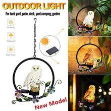 Solar Power LED Owl Parrot Hanging Lamp Waterproof Garden Decorative Light