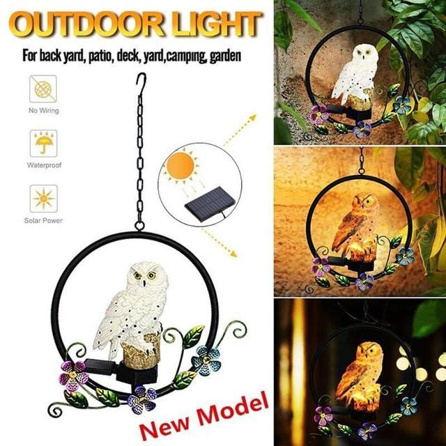 Điện Năng Lượng Mặt Trời Đèn LED Con Cú Con Vẹt Treo Đèn Chống Nước Sân Vườn Đèn Trang Trí