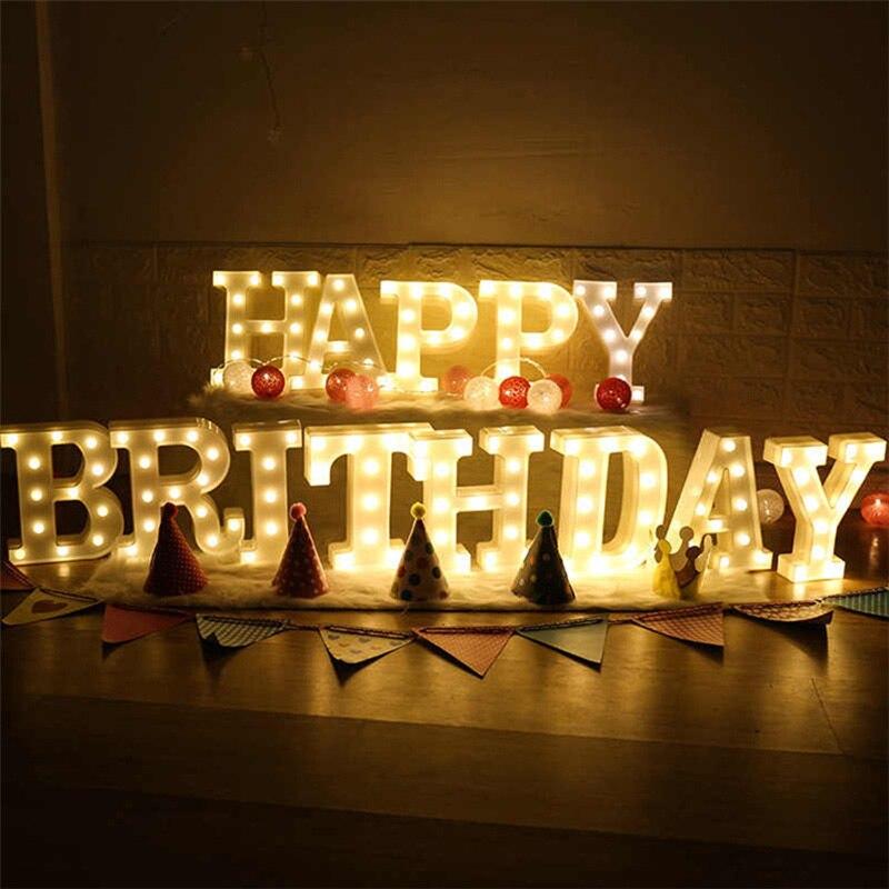 Декоративные буквы, светодиодная лампа с цифрами, 26 дюймов, Английский алфавит, лампа на батарейках, романтическое украшение для свадебной ...