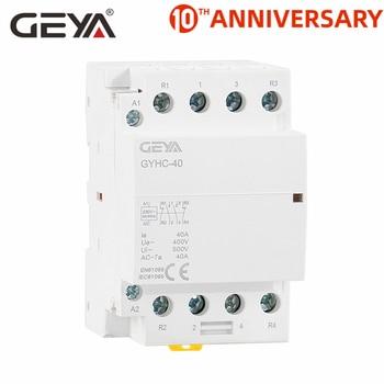 GEYA GYHC 4P 40A 63A 220V/230V 50/60HZ Din Rail Household AC Modular Contactor 4NO or 2NC2NO 2p 32a 40a 63a 220v 230v 50 60hz din rail household ac contactor 2nc