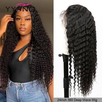 Yyong saç 360 dantel Frontal İnsan saçı peruk s tutkalsız 360 dantel peruk bebek saç ile kalın brezilyalı derin dalga Remy İnsan saçı peruk