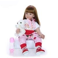 24 Inch Reborn Baby Girl Doll Soft Handmade Silicone Long Hair Princess Doll Lifelike Reborn Babies Toy For Kids Birthday Gift
